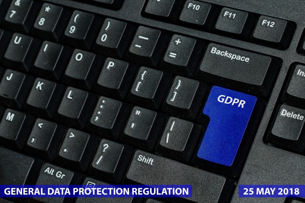 blue keyboard key with text GDPR as symbol for Privacy and General Data Protection Regulation on a
